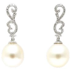 Cultured South Sea Pearls and Diamonds Earrings 14KT Gold