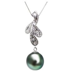 Cultured Tahitian Pearl 1.5 CT Diamond Pendant Necklace 14KT White Gold