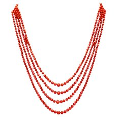 Amazing Natural 4 Stranded Italian Red Coral Necklace 14KT Gold