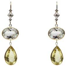 Natural Aquamarine, Golden Beryl and Diamonds Earrings 14KT Yellow Gold