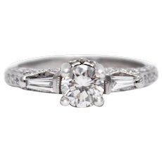 2CT Natural Round Cut Diamond Engagement Ring in 18KT White Gold