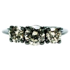 1.5 CT Natural 3 Stone Diamond Engagement Wedding Ring in 14KT Gold with Black Rhodium