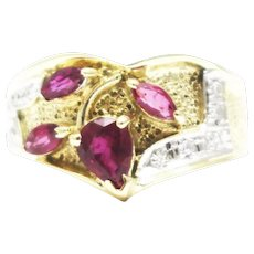 Artistic Natural Ruby and Diamond Ring in 14KT Gold