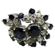 2CT Most Natural Blue Sapphire Diamond Ring 14KT White Gold