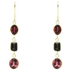 9CT Natural Chrome Green and Rubellite Pink Watermelon Tourmaline Earrings 18KT Gold