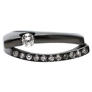 Amazing Natural Diamond Tension Set Solitaire  Ring in 18KT Gold with Black Rhodium