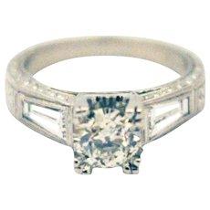 1.8 CT Elegant Antique Art Deco Natural European Cut Diamond Platinum Ring