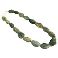 Natural Faceted Labradorite Geometric Handmade Sterling Silver Necklace