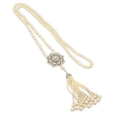 Amazing Cultured Freshwater Pearl CZ Sterling Silver Tassel Necklace