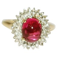 Natural Cabochon Rubellite Pink Tourmaline Diamond Ring in 14KT Gold