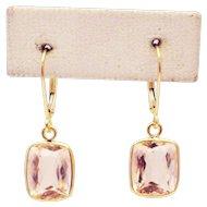 10.5CT Natural Pink Morganite Earrings Hand Bezel Set in 18KT Gold