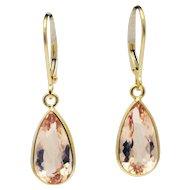 10CT Natural Pink Morganite Earrings Hand Bezel Set in 18KT Gold