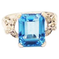 6 CT Natural Swiss Blue Topaz and Diamond Ring in 10KT White Gold