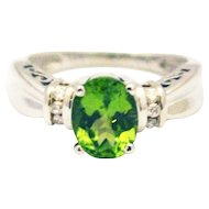 Natural Peridot and Diamond Ring in 14KT White Gold