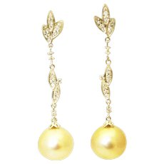 Cultured Golden South Sea Pearls and Diamonds Earrings 14KT Gold