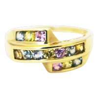 Natural Rainbow Multi Sapphire Ring in 14KT Yellow Gold
