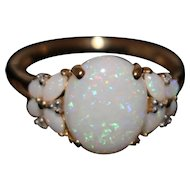 Natural Australian Opal and Diamond Ring in 14KT
