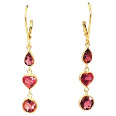 6.5CT Natural Rubellite Pink Tourmaline Earrings 18KT Gold