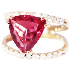 One of a Kind Custom Natural Rubellite Pink Tourmaline and Diamond Ring in 14KT Yellow Gold