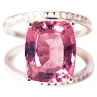 One of a Kind Custom Natural Pink Tourmaline and Diamond Ring in 14KT White Gold