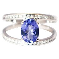 One of a Kind Custom Natural Tanzanite and Diamond Ring in 14KT White Gold