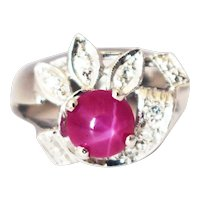 Amazing Natural Star Ruby and Diamond Ring in 14KT White Gold