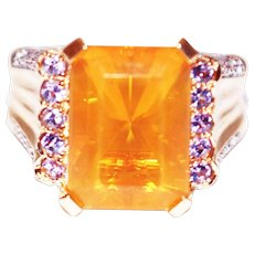 8 CT Natural Mexican Fire Opal and Diamond Ring in 14KT Yellow Gold