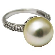 12.5mm Most Gorgeous Cultured Golden South Sea Pearl Diamond Ring 14KT White Gold