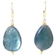 50CT Natural Labradorite Earrings Set in 14KT Gold