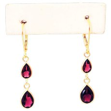 3.75CT Natural Rubellite Pink Tourmaline Earrings 18KT Gold