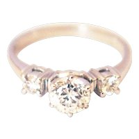 1CT Natural Diamond Engagement Ring in 14KT White Gold