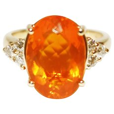 6 CT Natural Mexican Fire Opal and Diamond Ring in 14KT Yellow Gold