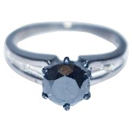 2.2 CT Natural Black and White Diamond Engagement Ring in 14KT Gold in Black Rhodium