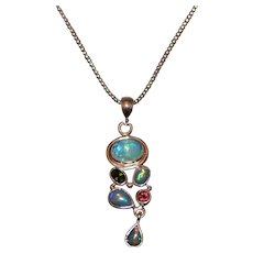 Handmade Rubellite Pink Tourmaline and Rare Natural Ethiopian Opal Necklace in Sterling Silver