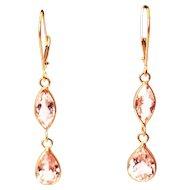 5CT Natural Pink Morganite Earrings Hand Bezel Set in 18KT Gold