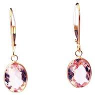 4CT Natural Pink Morganite Earrings Hand Bezel Set in 18KT Gold