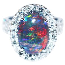 Natural Solid Black Opal and Diamond Ring in 18KT White Gold