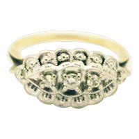 Victorian Natural Diamond Engagement Ring in 14KT White and Yellow Gold