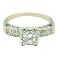 Victorian Natural Diamond Engagement Ring in 14KT White Gold