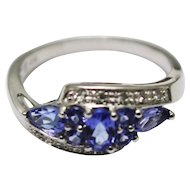 1.5CT Most Natural Tanzanite Diamond Ring 14KT White Gold Ring