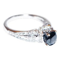 2CT Natural Black and White Diamond Engagement Ring in 14KT White Gold