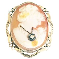 Natural Diamond Hand carved Conch Shell Cameo Pendant 14KT Gold