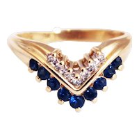 Most Gorgeous Unique Stackable Natural Blue Sapphire Diamond Ring 14KT Yellow Gold