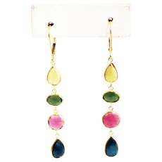 10.5CT Natural Watermelon Yellow, Green, Pink and Blue Rose Cut Tourmaline Earrings 18KT Gold