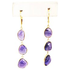 21CT Natural Rose Cut Asymmetrical Tanzanite Earrings in 18KT Gold