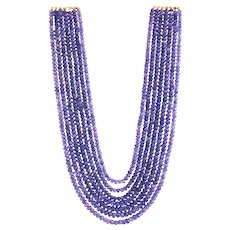 Amazing Price 600CT Natural 7 Stranded Faceted Tanzanite Necklace 14KT Gold