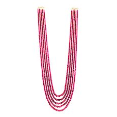250 CT 5 Stranded Natural Rubellite Pink Tourmaline Necklace Diamond 14KT Gold