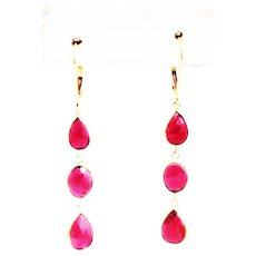 9CT Natural Rubelite Rose Cut Tourmaline Earrings 18KT Gold