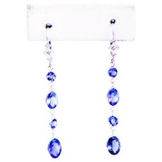 8.5CT Natural Tanzanite and Diamonds Line Earrings in 14KT White Gold