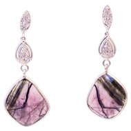 10CT Natural Rosecut Watermelon Tourmaline Slice with Diamonds Earrings 14KT Gold